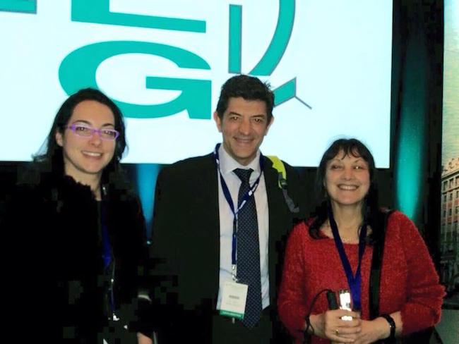 En el Congreso de la SEG con Delfina Balonga y Vanessa Armesto, Presidenta y Vicepresidenta de Agaf Glaucoma.